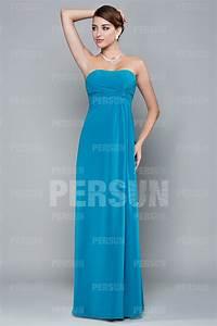 Robe Demoiselle D Honneur Bleu : robe bleu turquoise longue simple bustier pliss colonne ~ Melissatoandfro.com Idées de Décoration