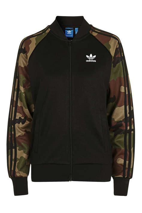 sleeve see through top camouflage sleeve track top by adidas originals topshop