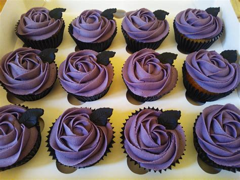 Love These Cupcakes In Purple And Black. Perfect For That