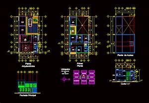 Two Story House with Garage 2D DWG Plan for AutoCAD