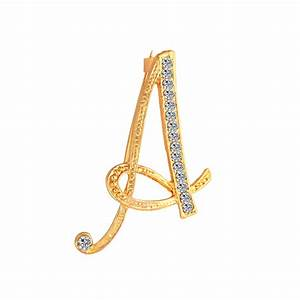 shuangr new rhinestone crystal brooches gold color initial With letter a pin