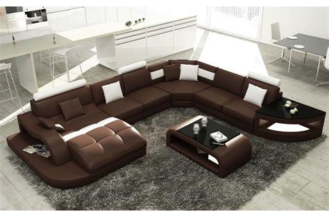 canape cuir luxe design canapé d 39 angle en cuir italien 8 places nordik chocolat
