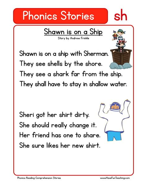 Reading Comprehension Worksheet  Shawn Is On A Ship