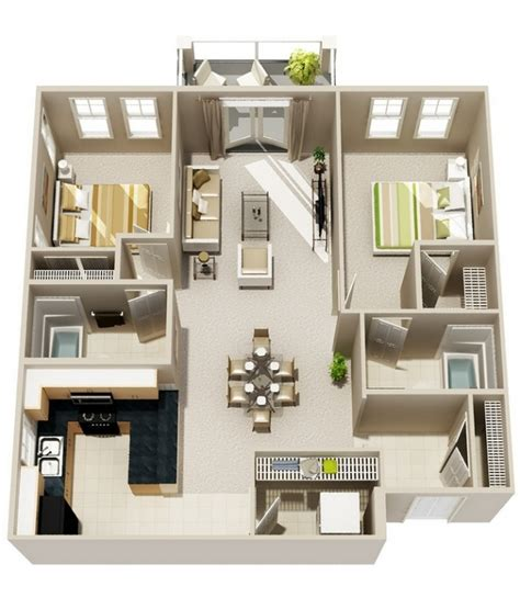 appartement 3 chambres idee plan3d appartement 2chambres 23