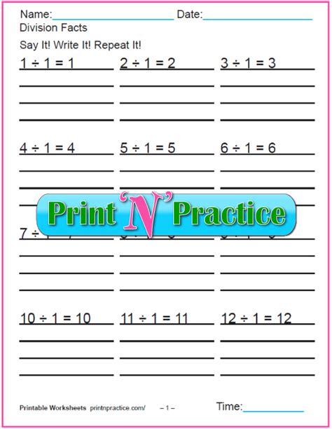 grade division worksheets kids printable
