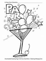 Coloring Cocktail Printable Party Pages Glass Martini Recipes Confetti Streamer Margarita Print Balloon Cocktails Filled Template Fun Pdf Birthday Balloons sketch template