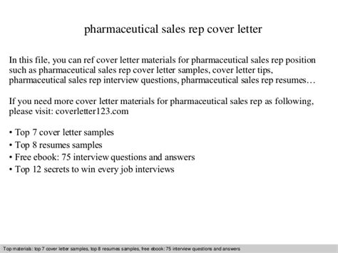 pharmaceutical sales rep cover letter