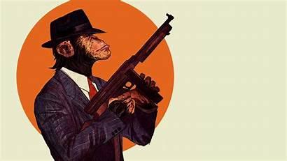Mafia Gun Tommy Thompson Monkey Holding Chimpanzees