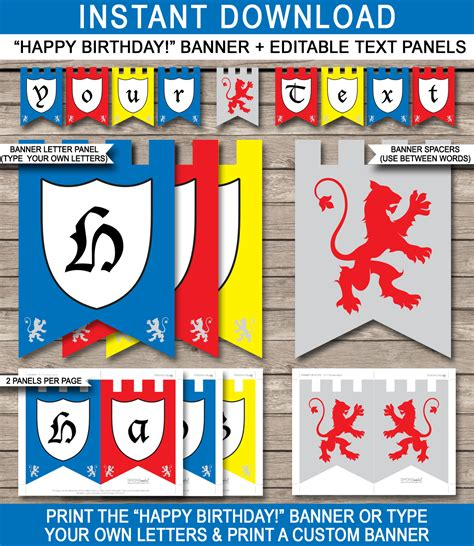 template medieval banner free knight party banner template happy birthday banner