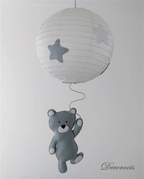 lustre suspension ours tom gris blanc enfant bébé