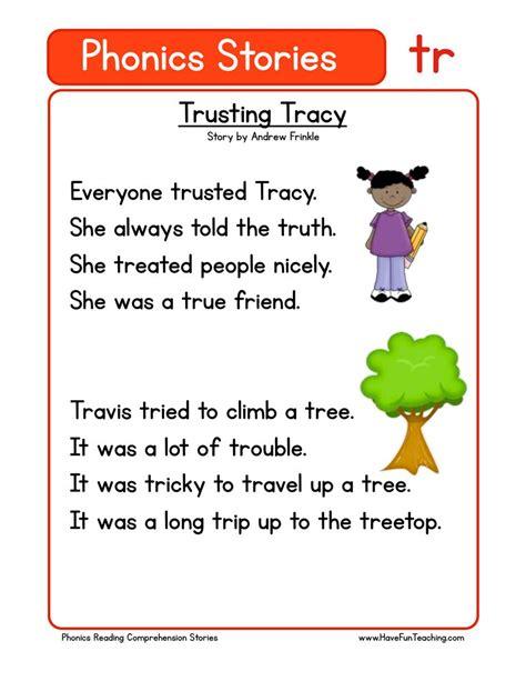 phonics words stories tr reading comprehension worksheet