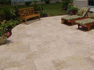 the travertine patio backyard