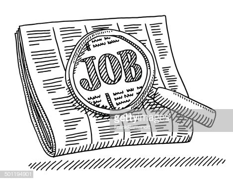 newspaper job loupe drawing vector art getty images