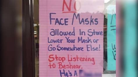 face masks sign  door  kentucky convenience store