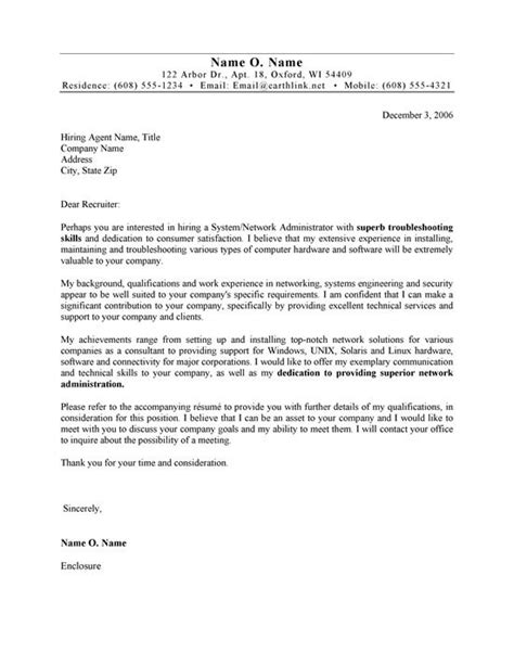 systems administrator cover letter  cover letters