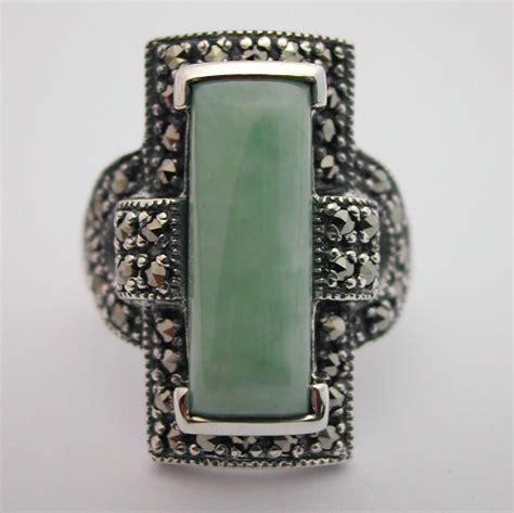 bijoux deco anciens bague argent jade marcassite 129 style d 233 co bijoux anciens argent