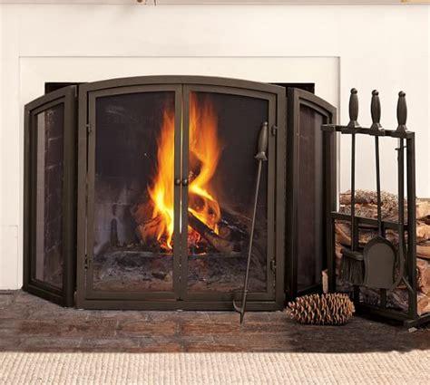 pottery barn fireplace screen pb classic fireplace screen fireplace collection