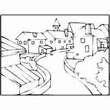 Coloring Town Street Christmas Pages Landscapes Colouring Curved Nativity Books Printable Wall Religious Jesus Bing Samples sketch template