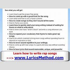 How To Write A Rap Song  Learn To Write Rap Lyrics Tips  Lyrics Method  Part 2 Of 5 Youtube