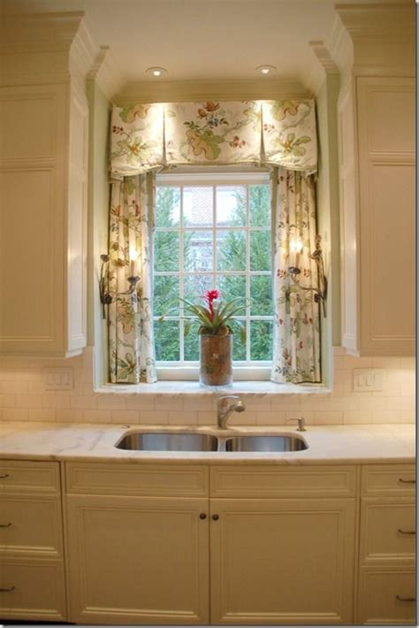 curtains for kitchen window above sink inverted pleat valance with trim over panels in sink