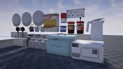 retro vintage kitchen accessories kitchen accessories pack by blueprint in props ue4 4835