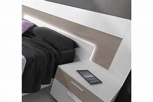 Tete De Lit Moderne : tete de lit bois design 4 lit moderne 2 personnes blanc et basalte trendymobilier cgrio ~ Preciouscoupons.com Idées de Décoration