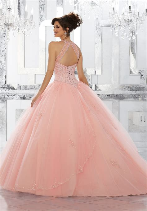 rhinestone  crystal beaded bodice  tulle ball gown