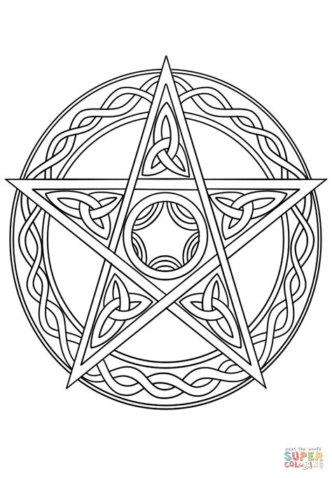 Wiccan Pentagram | Super Coloring | Witch coloring pages, Free printable coloring pages