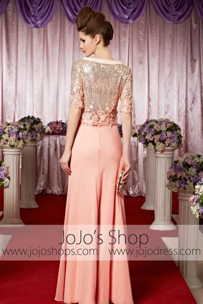 peach pink modest long sleeves shimmery elegant prom formal evening dr jojo shop