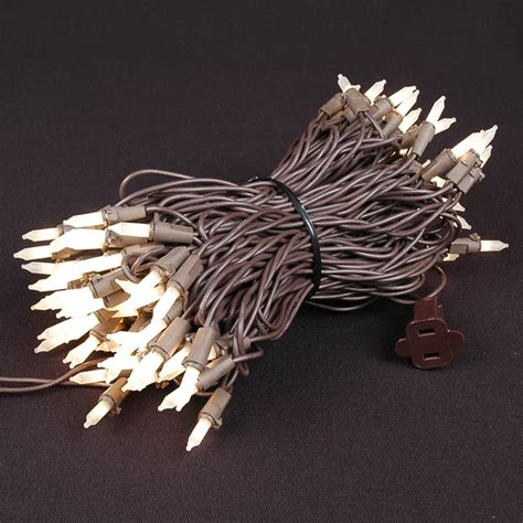 brown wire lights frosted white mini lights set 100 light brown