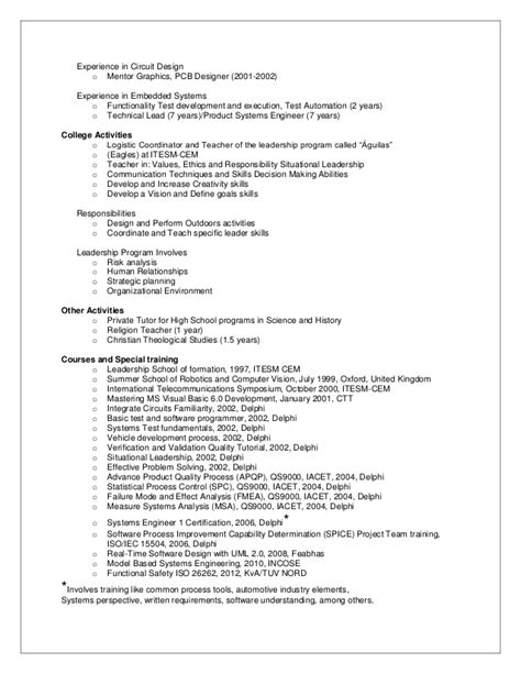 Systems Design Resumes network engineer resume sle free exle and electronic engineering electronic systems