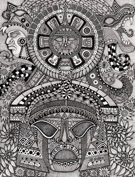 abstract prints for sale saatchi ancient faces mayan drawing by kelleher