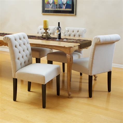 elmerson tufted ivory linen dining chair set of 2
