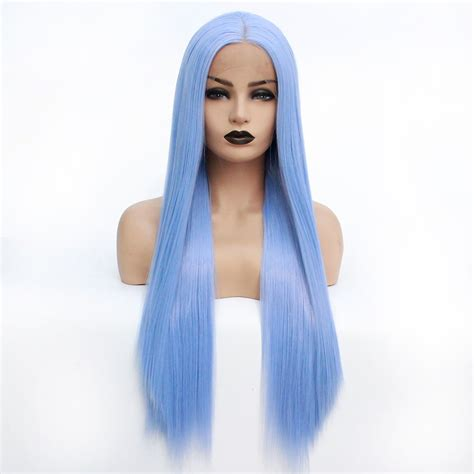 Synthetic Lace Front Wig Womens Straight Light Blue Heat