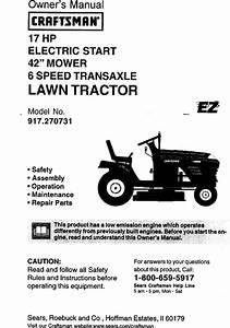 Craftsman 917270731 User Manual 42 Lawn Tractor Manuals