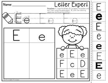 alphabet letter sort  prep practice pages