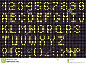 Yellow Led Digital Letters For Text  Display Font Stock Photo