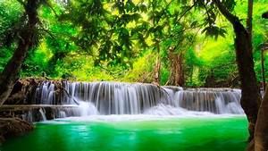 Beautiful, Background, Green, River, Waterfall, In, Kanchanaburi