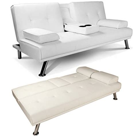 Cheap Leather Settee by White Faux Leather Sofa Bed Click Clack Settee 2