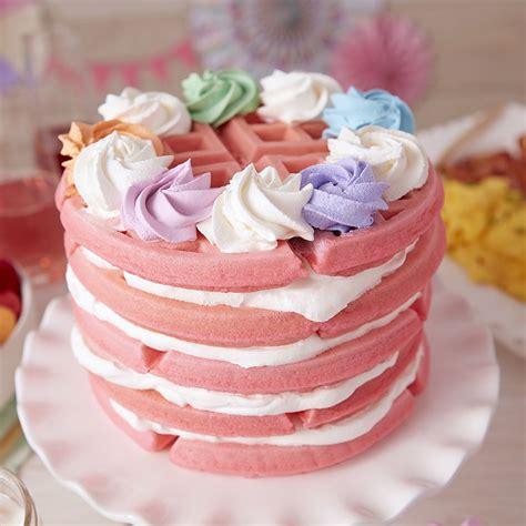 galentines waffle cake pink layered waffle cake wilton