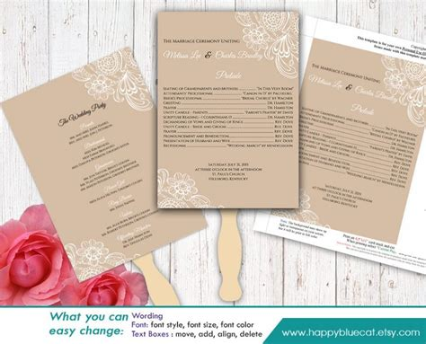 diy printable wedding fan program template instant