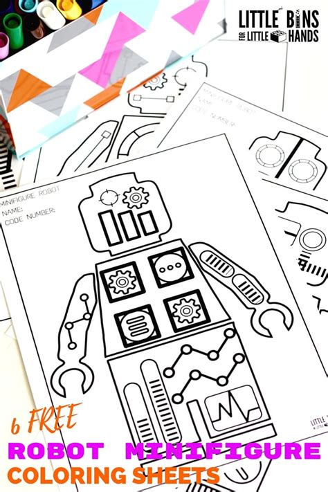 minifigure robot coloring pages  printable coloring sheets
