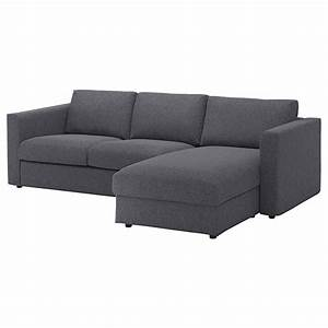 vimle housse canape 3 pl avec meridienne gunnared gris With canape meridienne amovible