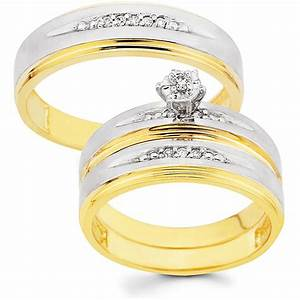 10k gold 1 10ct tdw his and her wedding ring set h i i1 for Wedding rings for male and female
