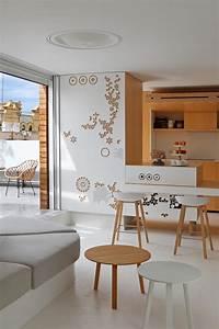 Cuisine Bois Et Blanc : cuisine bois et blanc donnant sur le salon blanc et la ~ Dailycaller-alerts.com Idées de Décoration