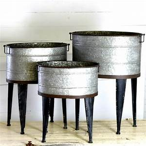 Standing, Round, And, Oval, Metal, Wash, Tub, Set, Of, 3