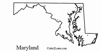 Maryland Coloring Outline State Flag Map Pages