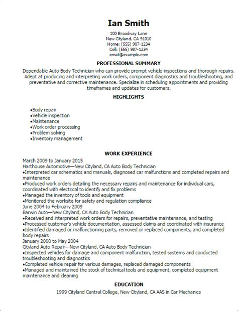 Auto Shop Resumeauto Shop Resume by Professional Auto Technician Resume Templates To