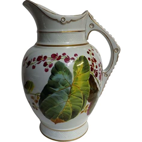 glass jug l base victorian 1880 bathroom water jug hand painted from