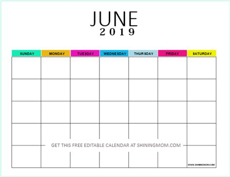 editable blank calendar  colorful monthly template